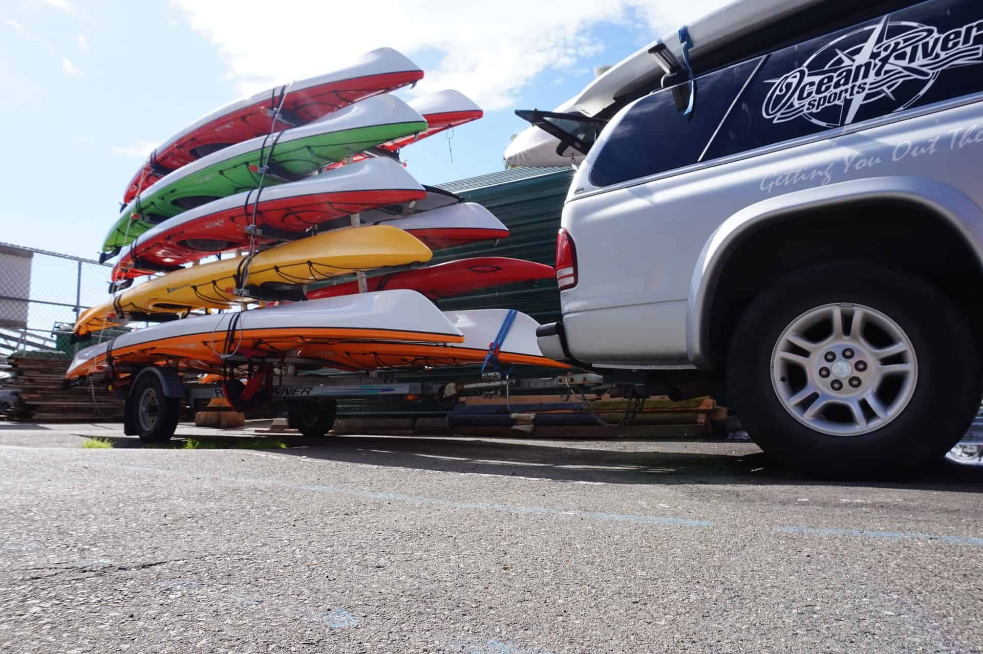 Kayak trailer laden with yaks