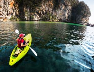 Kayaking near some rocks