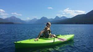 Sit in kayak on a lake