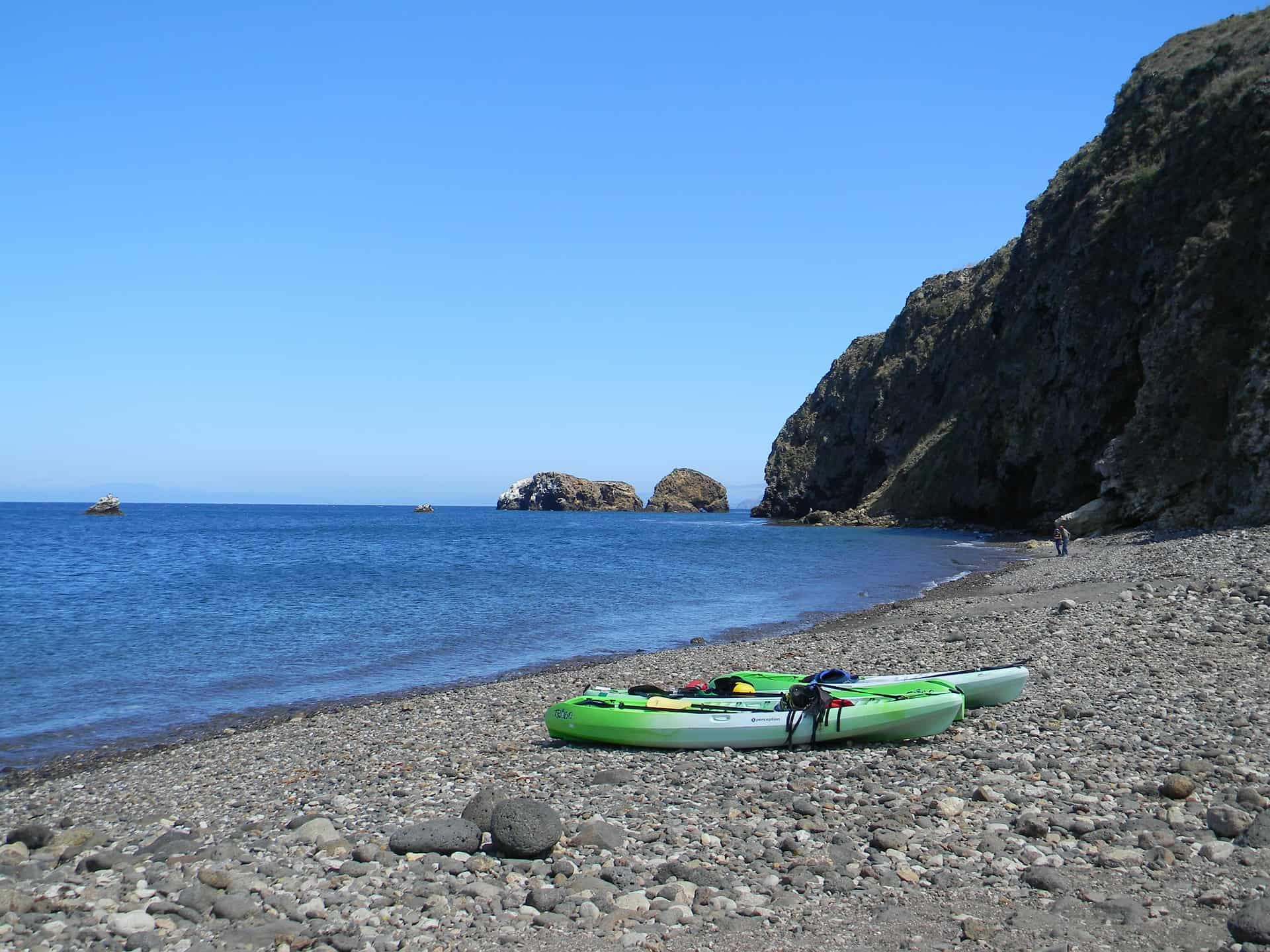 Sit-on-top kayaks on the beach