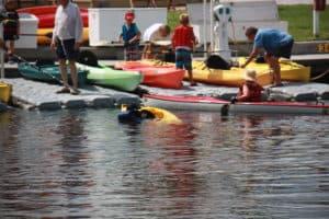 Capsized kids kayak